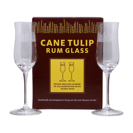 Cane tulip Verres à Rhum Vieux en cristal grave boite de 2