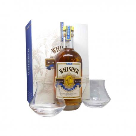 Whisper Rhum ambré Antigua gold rum coffret + 2 verres 40° 70 cl Antigue