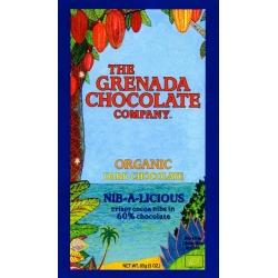 The Grenada Chocolate noir bio nib-a-licious 60% cacao et grué 85 g Grenade