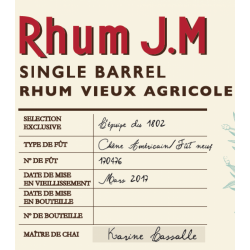 JM Rhum Vieux Sélection Bar 1802 Single Barrel 57,55° Martinique