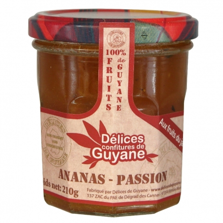 Délices Guyane confiture ananas passion 210 g